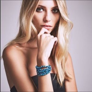 Free People Azure Gunmetal Braided Bracelet